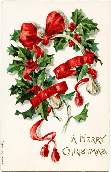 Free Vintage Christmas Wishbone Postcard Image   Old