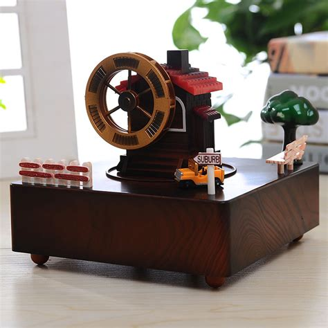 mechanical decor retro music box house wind up music box mechanical caja