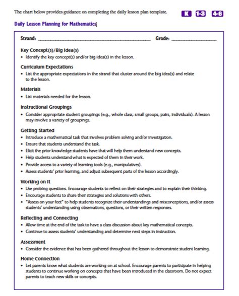 kindergarten math lesson plan template the most of math