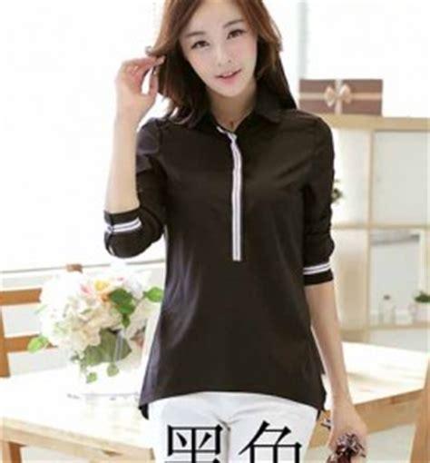 Baju Wanita Sweater Lengan Panjang Hitam Putih Polkadot kemeja korea wanita murah di eveshopashop shopashop