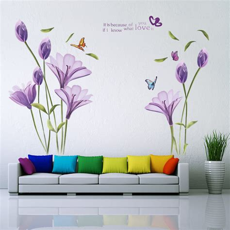 large flower wall stickers removable large wall stickers purple flower wall