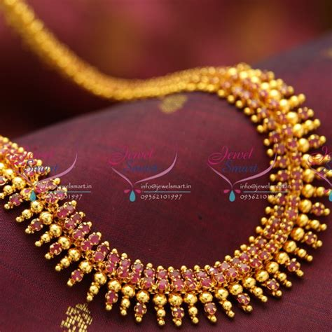 design collection gold metal bead nl1018 design ruby gold plated haram necklace