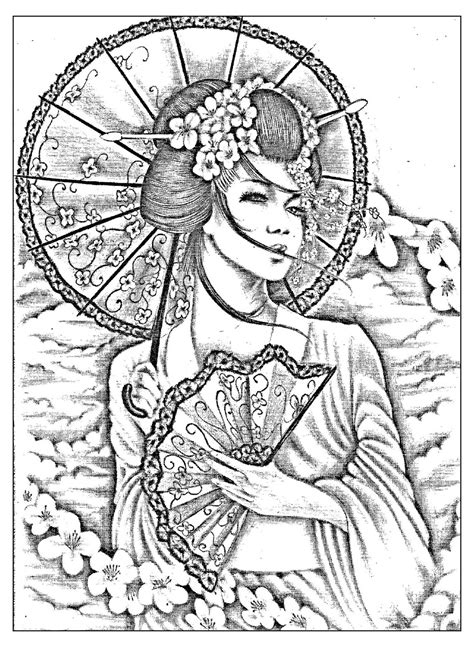 Free Coloring Page Coloring Geisha Japan Tatoo A Geisha Coloring Pages