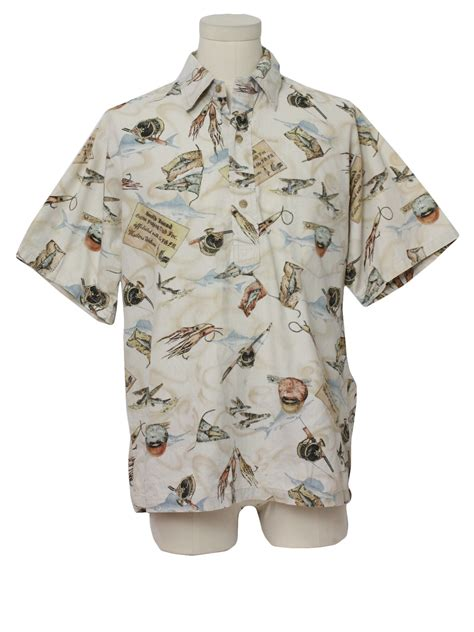 fish pattern hawaiian shirts hawaiian shirt 90s kahala mens beige background cotton