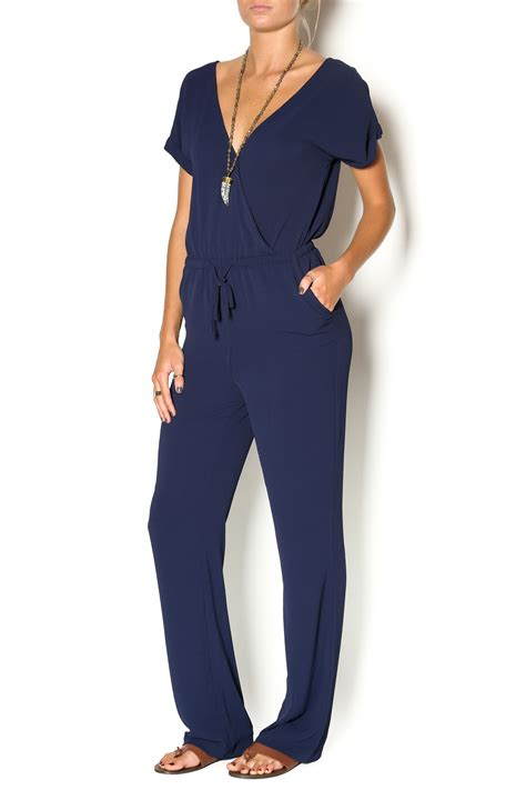 Navy Jumpsuit By Vierra Shop miss sleeve navy jumpsuit from california by