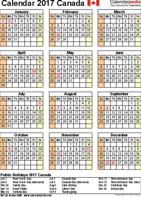 Calendrier 2019 Canada 2017 Calendar Canada Weekly Calendar Template