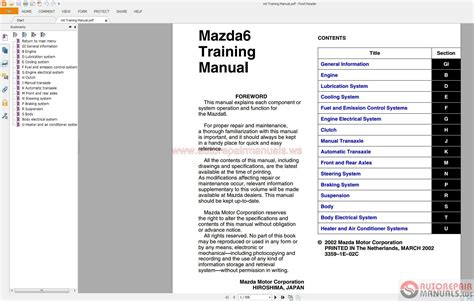 free auto repair manuals 2007 mazda mazdaspeed6 lane departure warning service manual car repair manual download 2004 mazda mazda6 lane departure warning car