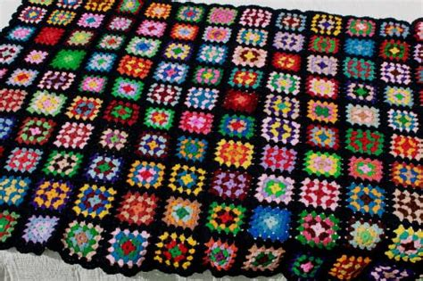 Cool Flatware Retro Crochet Granny Square Afghan Blanket Kaleidoscope