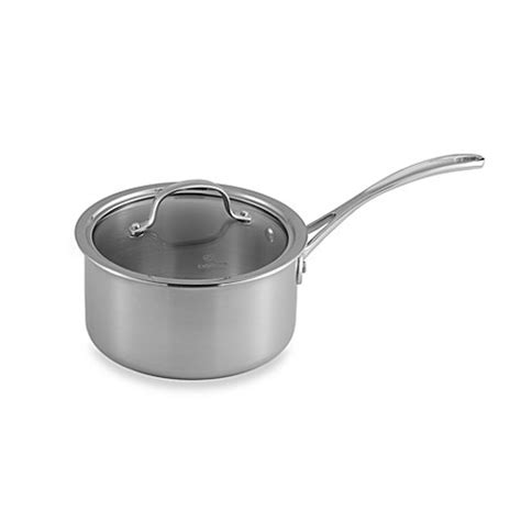 bed bath and beyond calphalon calphalon 174 tri ply stainless steel 2 5 qt saucepan with