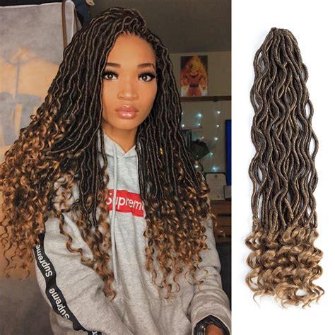 braised hair wirh wavy ends amazon com lihui 6pcs lot goddess locs crochet hair wavy