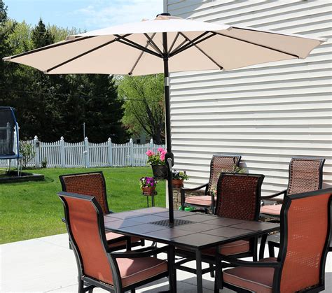 Solar Patio Ls by Sunnydaze Solar Lit Patio Umbrella W Tilt Crank 9ft