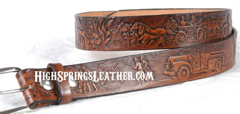 firefighter leather name belts