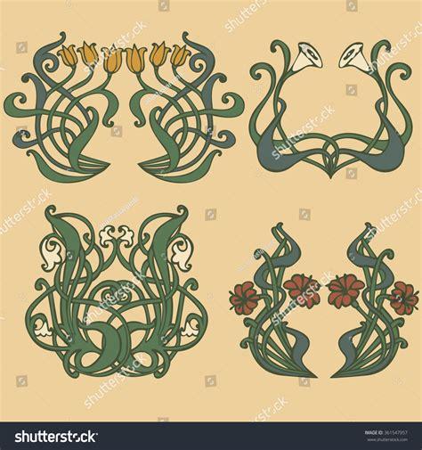 design elements of art nouveau art nouveau art deco floral ornaments stock vector