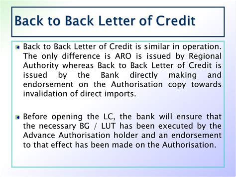 Back To Bank Letter Of Credit workshop on foreign trade policy ppt