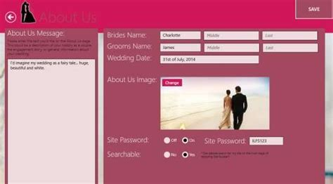 about us section of wedding website windows 8 wedding site builder app with guestbook rsvp