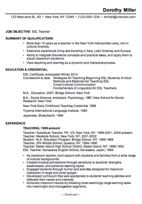 Sample Resume Objectives For Personal Trainer by Resume Sample For An Esl Teacher Susan Ireland Resumes