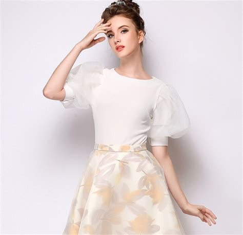 New Blouse Organza 1 new collection simple style white half sleeve organza