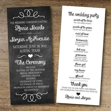 templates for wedding programs 17 best ideas about wedding program templates on