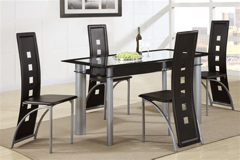 poundex f2212 f1274 glass top dining table with black chairs 5 pc set
