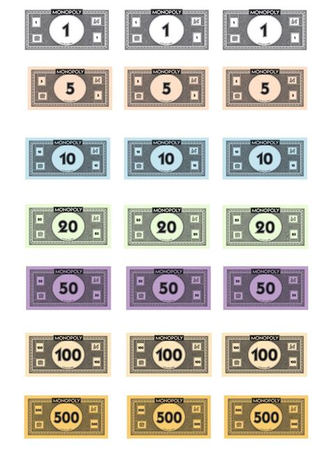 Printable Monopoly Money Template by Free Monopoly Money Template Templates At