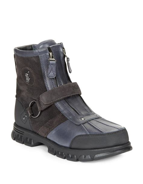 polo ralph conquest leather and suede work boots in
