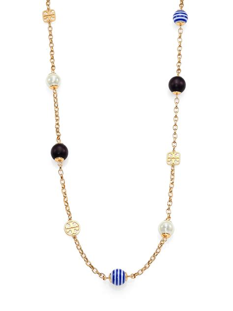 minimalist look with tory burch a constellation lyst tory burch saher simple mixed bead station necklace