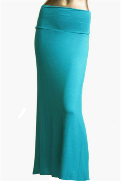 s floor length solid color turquoise maxi skirt