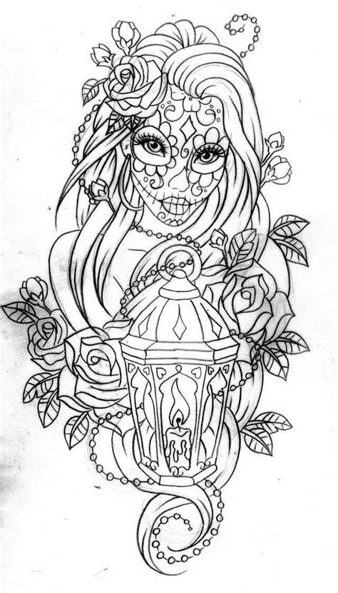 coloring pages for adults tattoo day of the dead coloring page pinteres