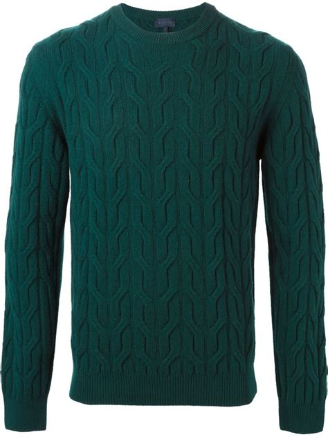 green knit sweater lyst lanvin cable knit sweater in green for