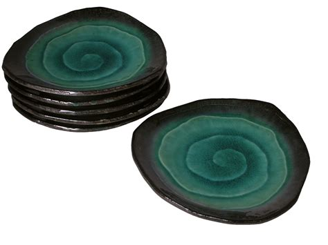 Kitchen Ceramic Canisters by Teal On Dark Brown Crackled Glazed Japanese Plates Set For Six