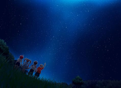 starry night sky girl anime starry sky backgrounds wallpaper cave