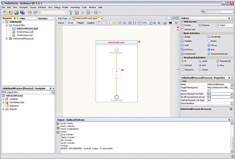 html design view netbeans to create the bpel process bpel designer and service
