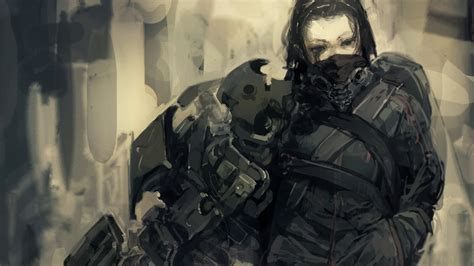 anime soldier girl wallpaper soldiers cyborgs weapons armor mechanical black eyes