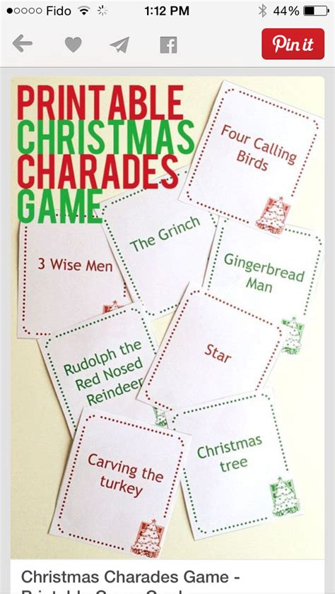 printable christmas charades christmas charades halloween decor pinterest