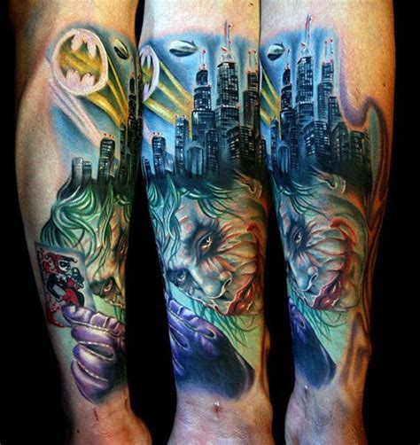 joker sleeve tattoo designs 11 badass batman tattoos in honor of gotham s premiere
