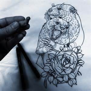 couple otters tattoo design best tattoo ideas gallery