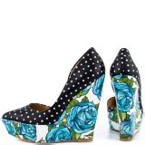 Wedges Pita Fs Polka s yellow floral wedge heel slingback pumps for date hanging out fsj