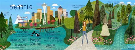 seattle map illustration uncategorized blueberry the and work of