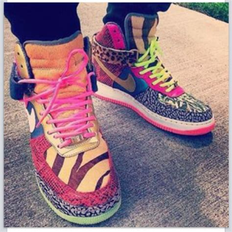 colorful air forces shoes blouse colorful nikes sneakers high tops high