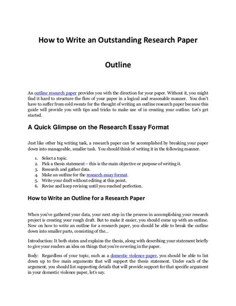 How To Make Outline For Research Paper - writing an impressive outline research paper