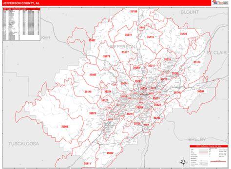 zip code map jefferson county al jefferson county al zip code maps red line style