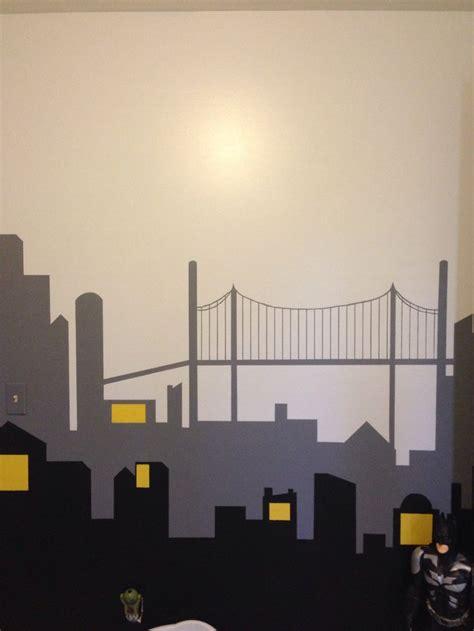 gotham city wall mural gotham city wall mural not completely finished yet still need the lights in the sky