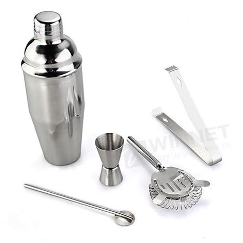 Shuma Shaker Stainless Steel 750ml Silver 20 27day delivery set 5 high quality stainless steel cocktail bartender shaker silver wine tools