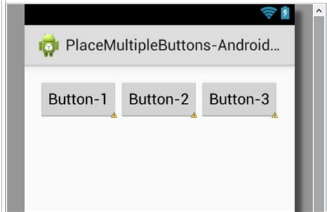 layout android button click place two or multiple buttons side by side in