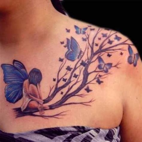 fairy and butterfly tattoo designs realistic design for tree branches