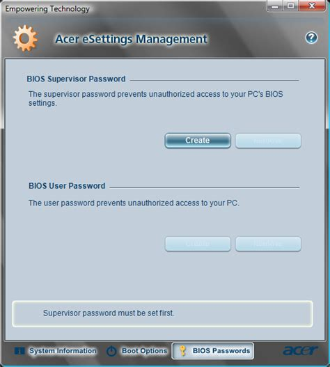 reset windows password bios reset acer bios password with acer esettings management