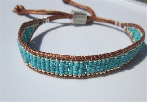leather and bead bracelet neta porter bracelet turquoise and silver beaded leather