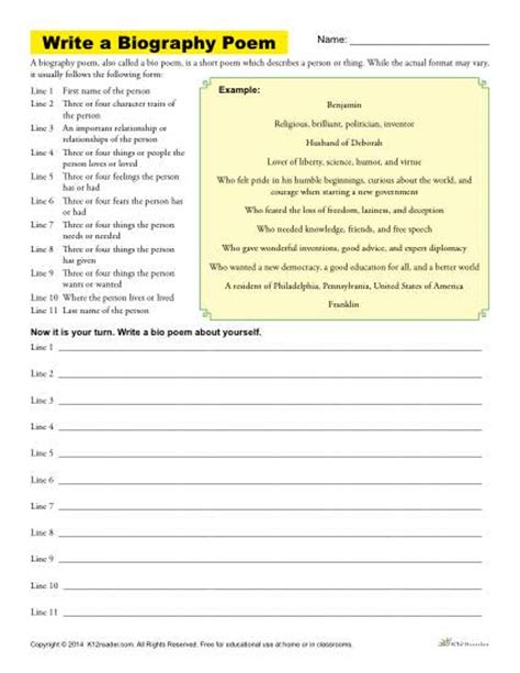 biography books for 6th graders write a biography poem printable poetry worksheet
