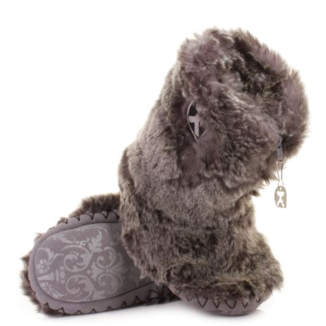 wolf slippers bedroom athletics cole grey wolf faux fur ankle slipper