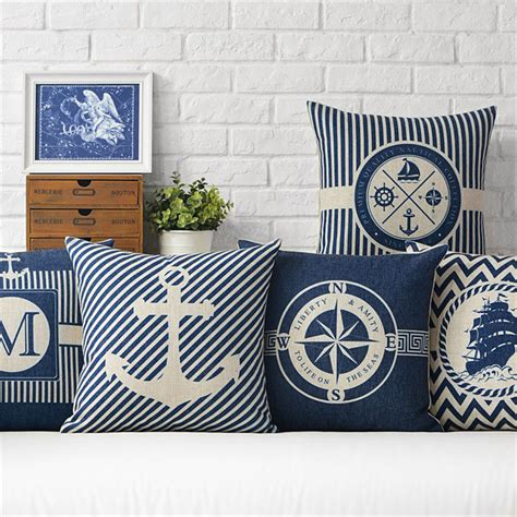 nautical sofa covers nautical decorative blue cushion covers linen fabric